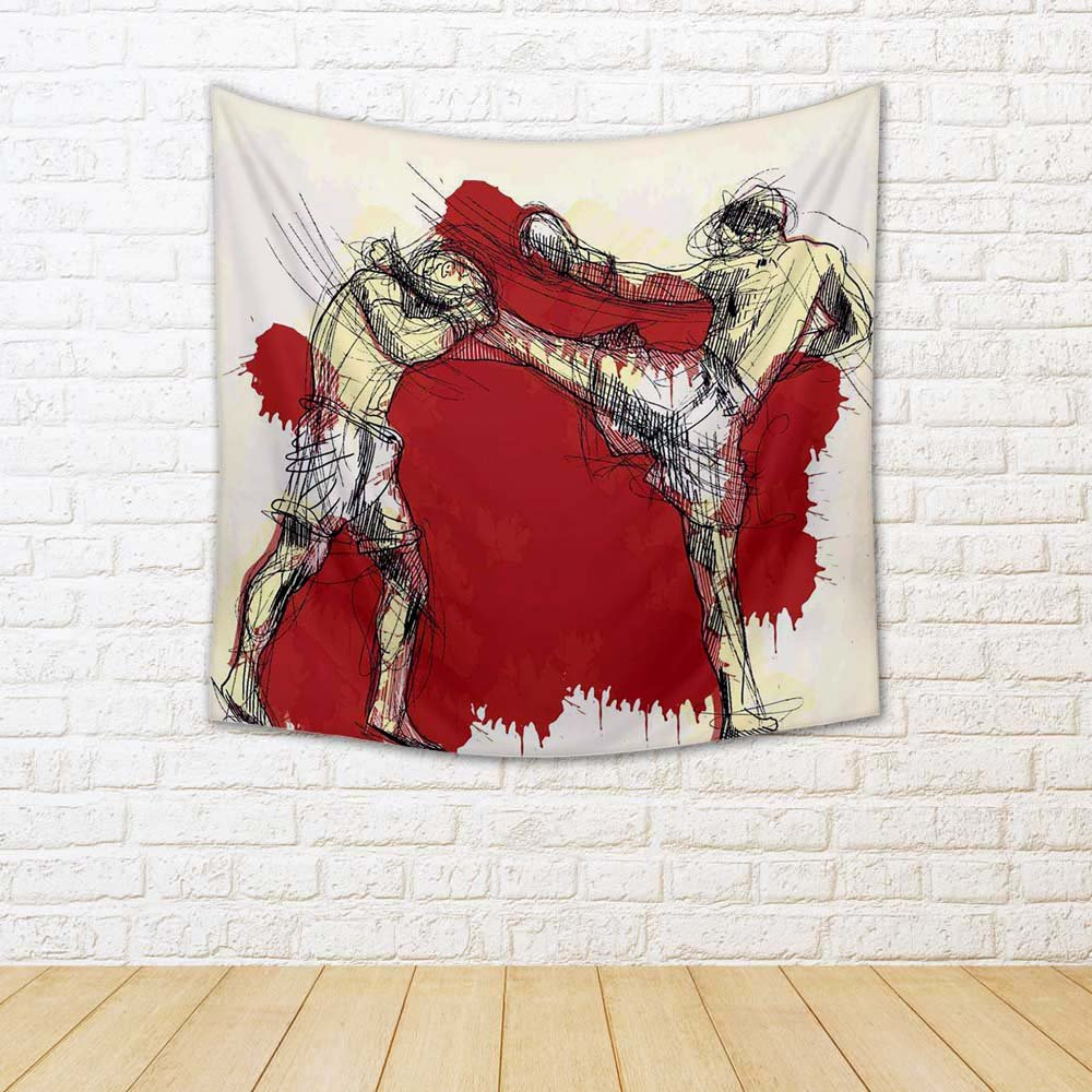 ArtzFolio Muay Thai Martial Art Kickboxing In Thailand 1 Satin Tapestry Wall Hanging 24 x 24inch