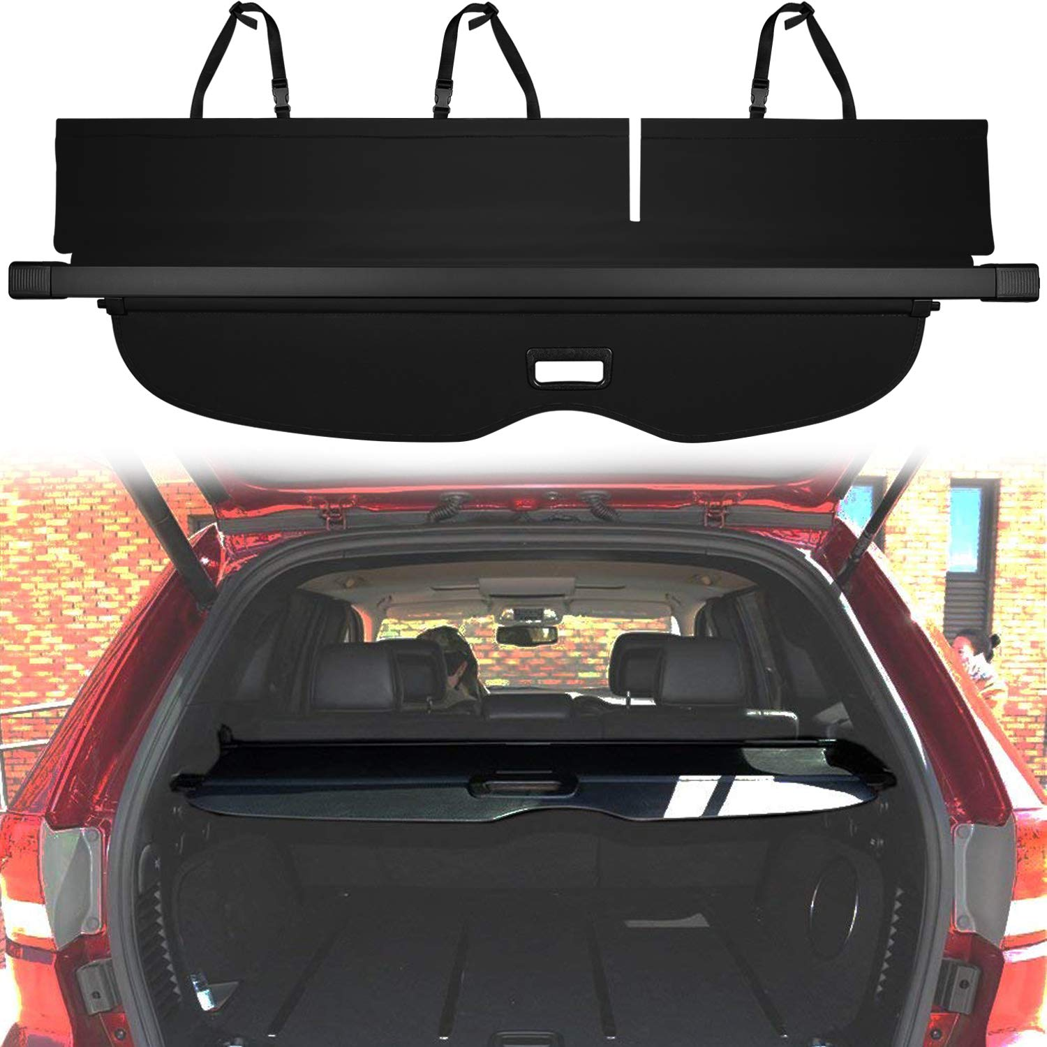 Cargo Cover Fit For Jeep Grand Cherokee 2011–2019 Retractable Rear Trunk Organizer Cargo Luggage Security Shade Cover Shield (Updated Version: No Gap in the back seat, Not Fit for Jeep Cherokee)