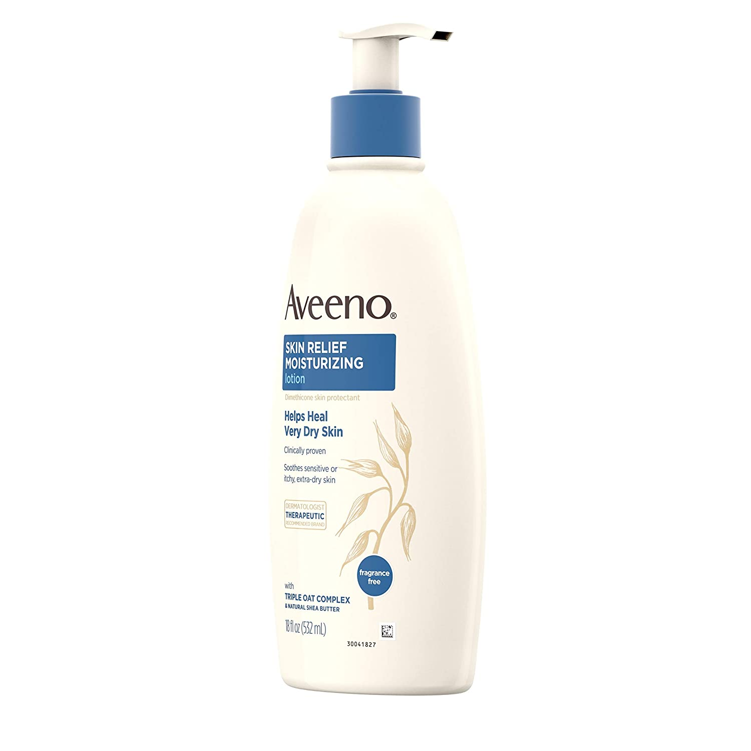 Aveeno Skin Relief Fragrance-Free Moisturizing Lotion for Sensitive Skin, with Natural Shea Butter & Triple Oat Complex, Unscented Therapeutic Body Lotion for Itchy, Extra-Dry Skin, 18 fl. oz: Beauty