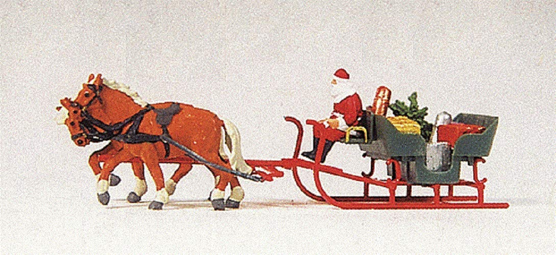 SANTA'S SLEIGH WITH HORSES - PREISER HO SCALE MODEL TRAIN ACCESSORIES 30448 PR30448