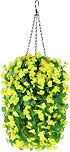 Fall Flower Centerpieces, Hanging Baskets with Artificial Flowers, Fake Silk Hanging Orchid Flowers in Baskets for The Decoration of Home Courtyard Indoor Outdoor Landscaping (Yellow)