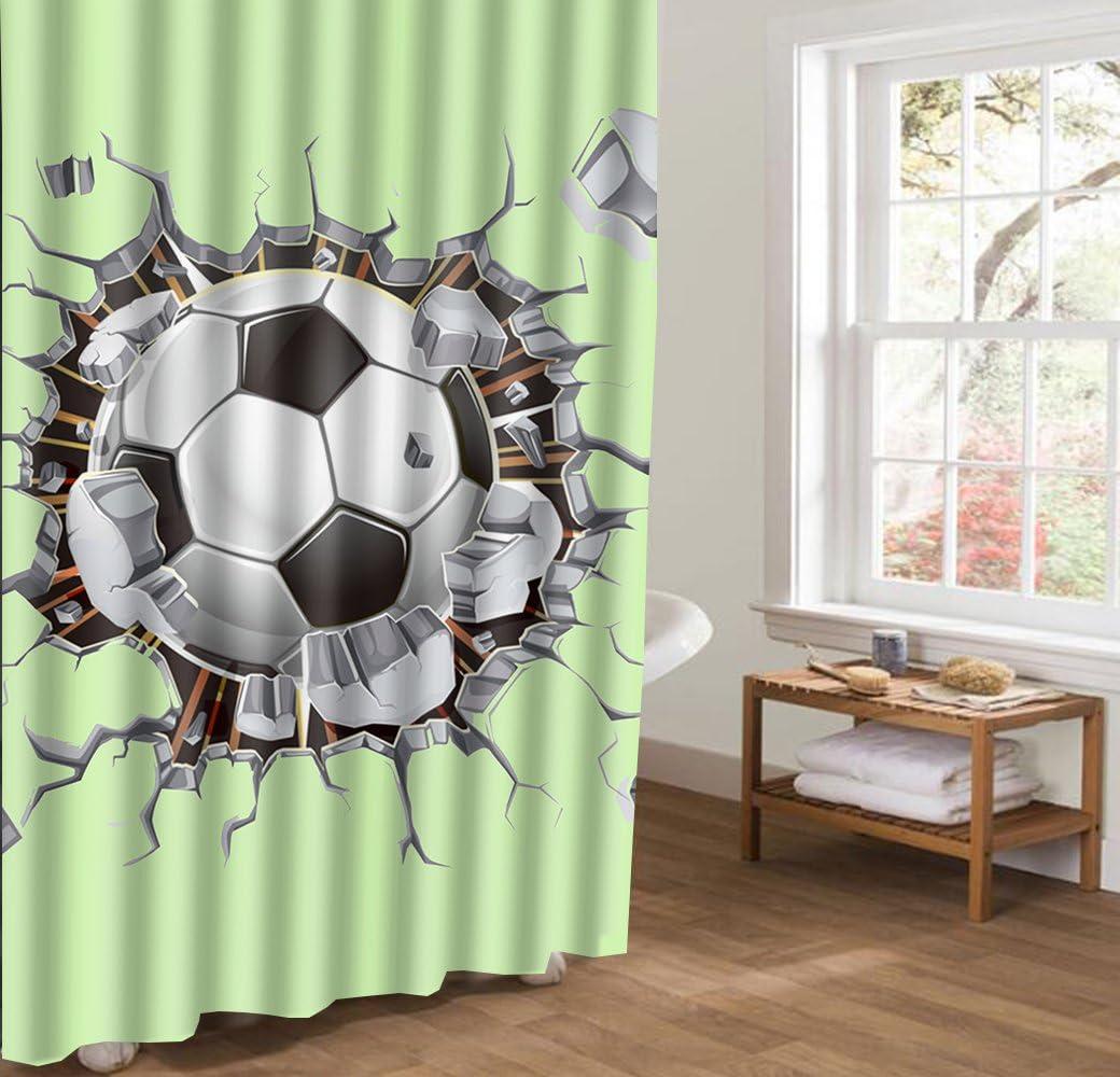 JIACURTAIN - Cortina de Ducha de balón de fútbol 3D Que rompe la Pared Verde 66 x 72 Pulgadas Impermeable Cortina de Ducha antimoho Cortina de baño