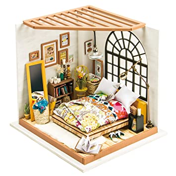 Amazoncom Rolife Diy Miniature Dollhouse Kits With Accessories And - Diy-bedroom-decor-model