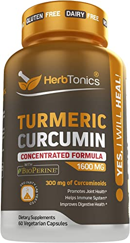 Turmeric Curcumin 1600mg with Bioperine Black Pepper Capsules- Joint Supplement for Men and Women Joint Pain Relief Support, Anti-Inflammatory