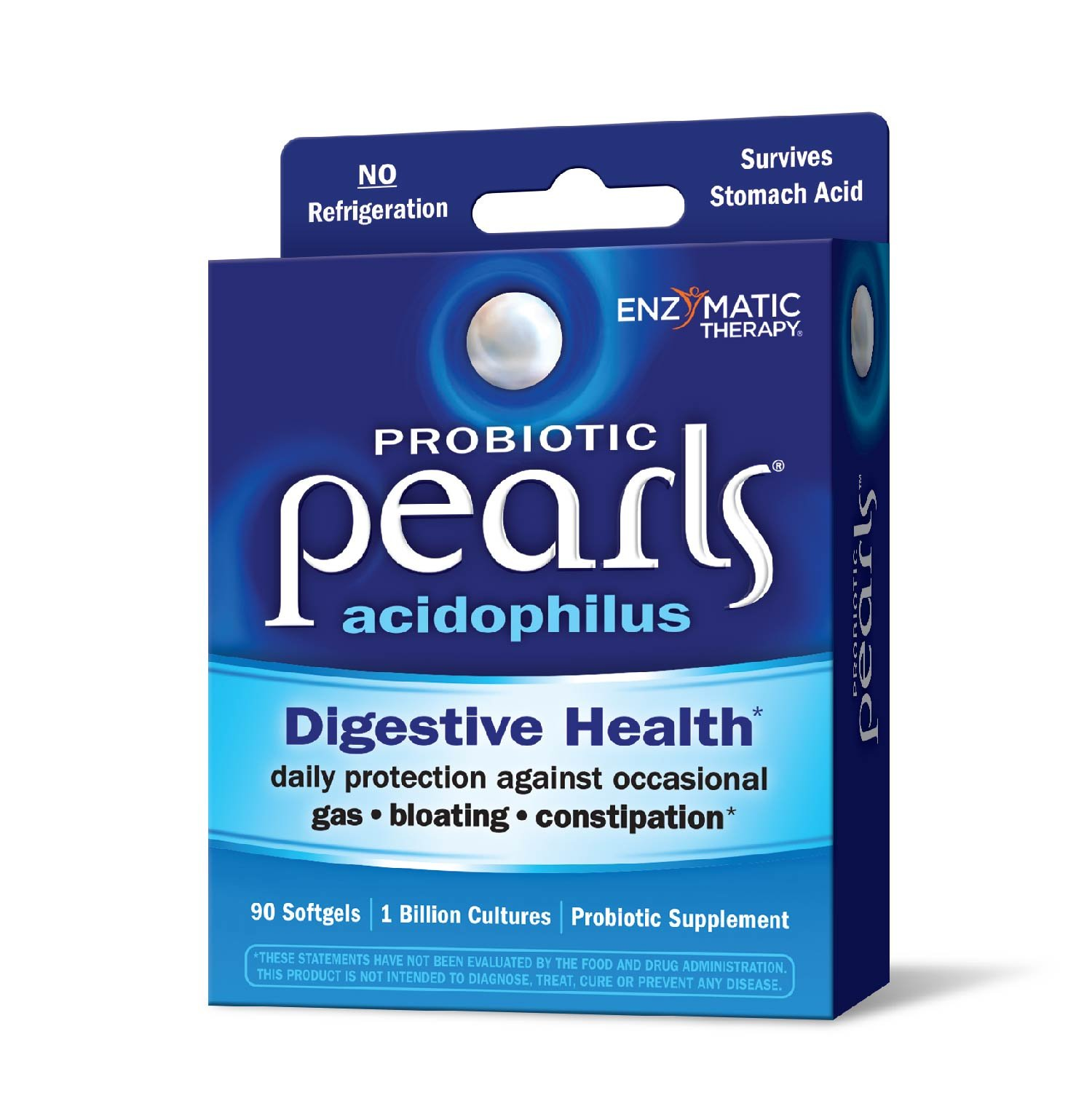 Probiotic Pearls Acidophilus Once Daily Probiotic Supplement, 1 Billion Live Cultures, Survives Stomach Acid, No Refrigeration, 90 Softgels (Packaging May Vary)