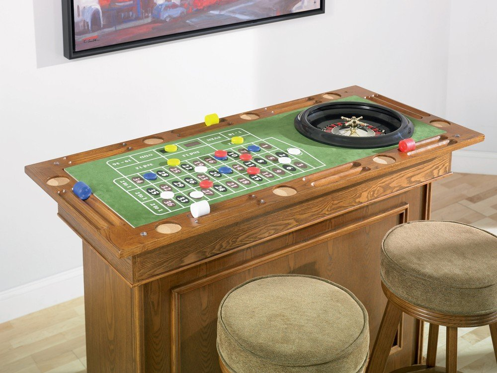 Amazon.com: Coaster All In One Game Table/Bar Unit With Wine Shelves  Includes, Roulette, Blackjack And Craps, Cherry Finish: Kitchen U0026 Dining
