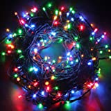 Fullbell 33ft Christmas LED Fairy Twinkle String lights 80 LEDs with Controller for Chirstmas Tree,Garden,Patio,Multi Strings Connectable(Black Wire)(Multi-color)