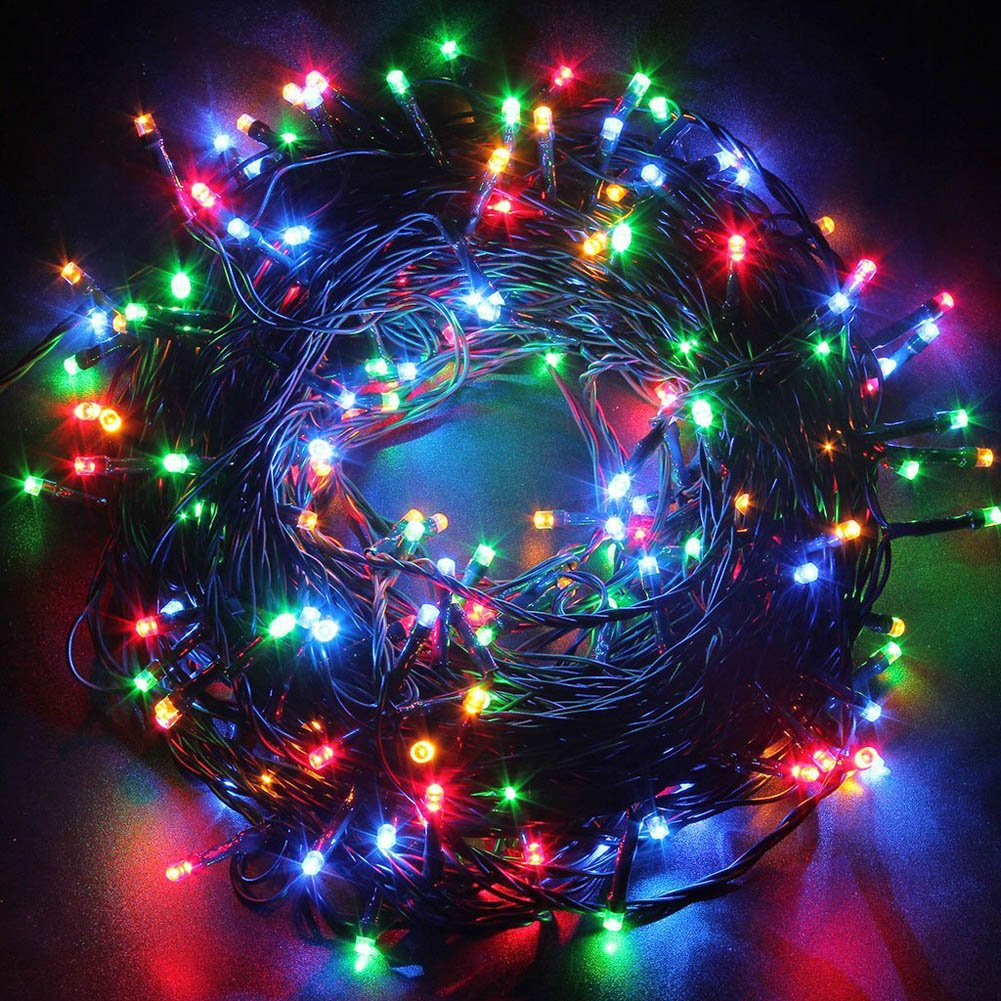 FULLBELL Christmas String Lights, 33ft 80 LEDs with Controller Fairy Twinkle Lights?Decoration for Chirstmas Tree,Garden,Multi Stings Connectable(Black Wire)(Multi-color)