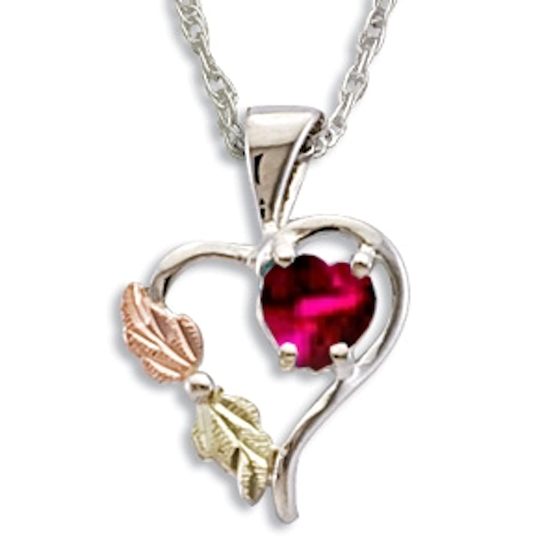 Black Hills Silver July Heart Birthstone Necklace