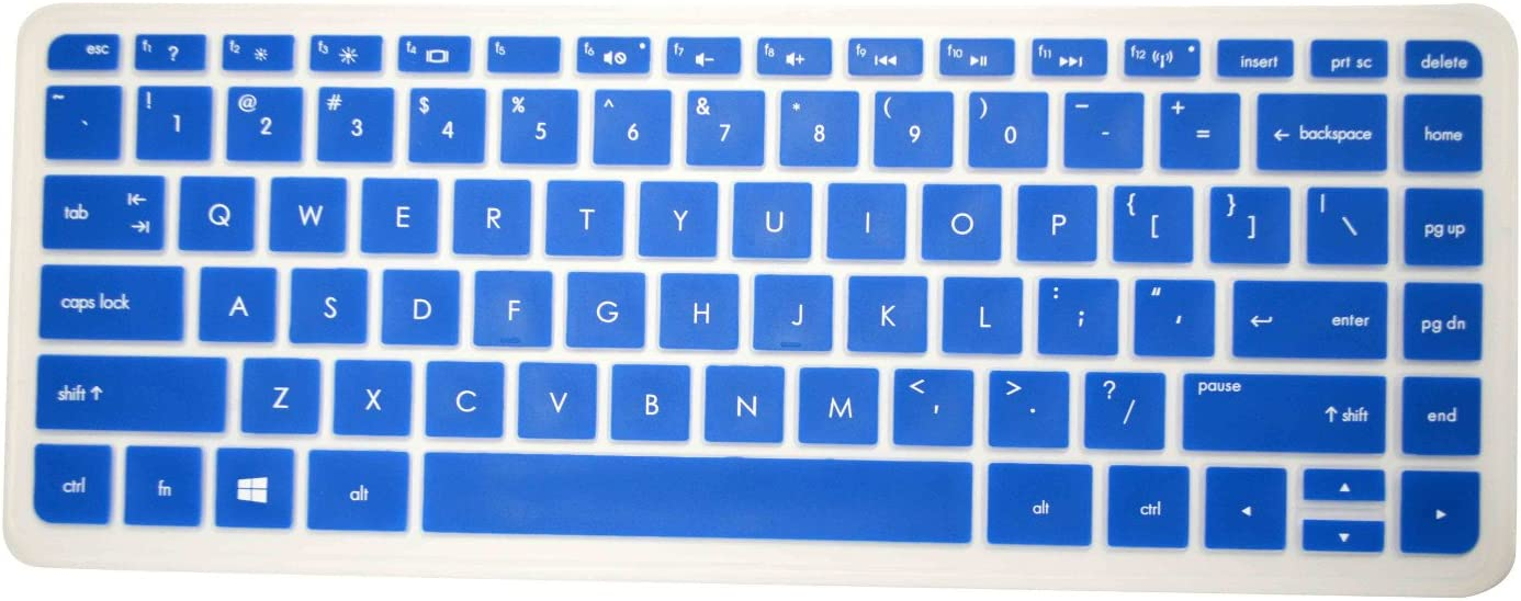 """PcProfessional Blue Ultra Thin Silicone Gel Keyboard Cover for HP Stream 13 13.3"""" HP Stream 14 14"""" HP Split x2 13 ENVY 14"""" ENVY Touchsmart 14"""" Laptop with Application Kit (Please Compare Keyboard Layout and Model)"""