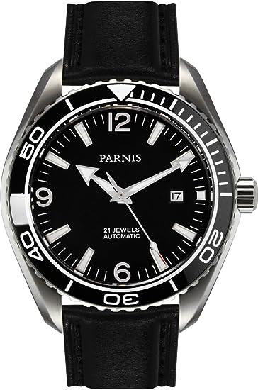 PARNIS 9027 – Reloj automático de acero inoxidable 5bar resistente al agua 45 mm de Hombre