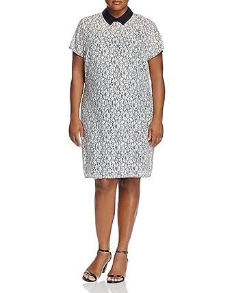 ea3b1d721eb MICHAEL Michael Kors Womens Plus Lace Collar Party Dress White 16W ...