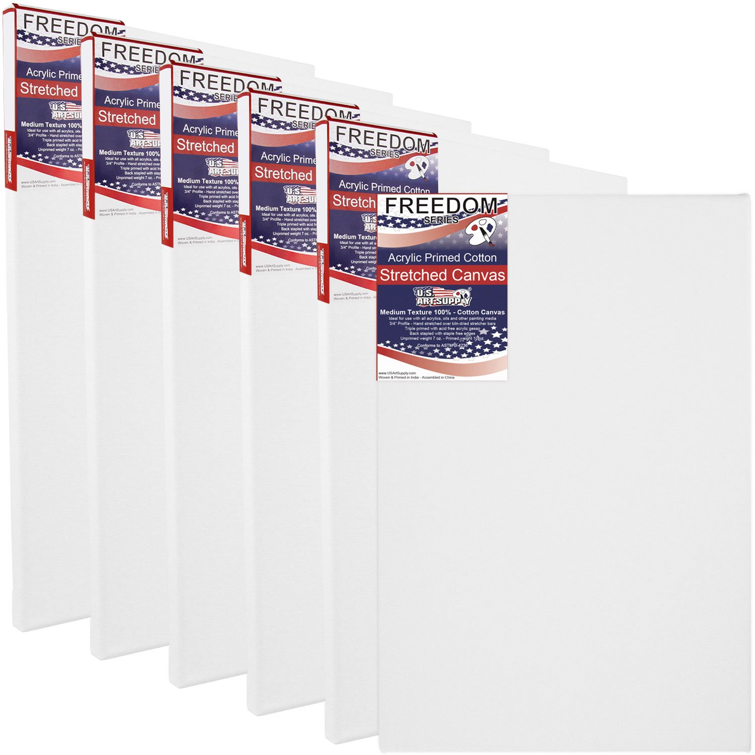 US Art Supply 24 X 36 inch Professional Quality Acid Free Stretched Canvas 6-Pack - 3/4 Profile 12 Ounce Primed Gesso - (1 Full Case of 6 Single Canvases) by US Art Supply (Image #1)