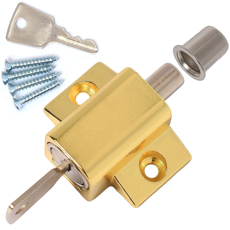 Brass Patio Door Lock & 2 Keys - Extra Security White Hinge
