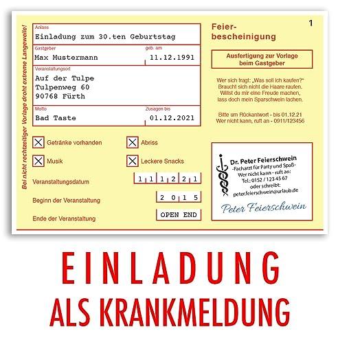 Einladungskarten Geburtstag (30 Stück) Krankschreibung Krankmeldung  Krankenschein Geburtstagskarten Geburtstagseinladungen Karte Einladungen  Gestalten   .