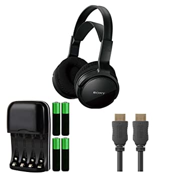 Sony mdrrf912rk Home Theater estéreo inalámbricos auriculares, negro w/compacto AA/AAA cargador