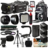 Canon XA35 HD Professional Video Camcorder + Tripod + Monopod + Action Stabilizer + 128GB + LED Light + Backpack + 3 Extra Batteries + HandGrip Handle + Mic + Telephoto Macro Lense Kit + Filter Bundle