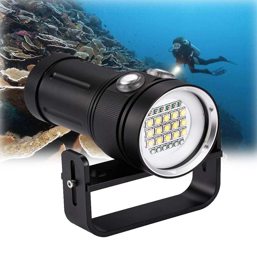 DOMINTY ダイビング懐中電灯 25000LM 15x XM-L2+6X 赤+6X UV LED 写真 ビデオ スキューバ ダイブライト 潜水機 充電式 防水 水中 100M トーチ 手持ち懐中電灯 ライト+スタンド 2   B07N7ZSFYW