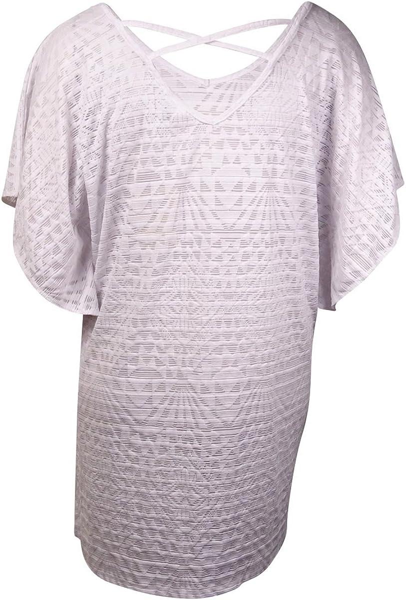 Dotti Womens Textured Pattern V-Neck Coverup 3X, White