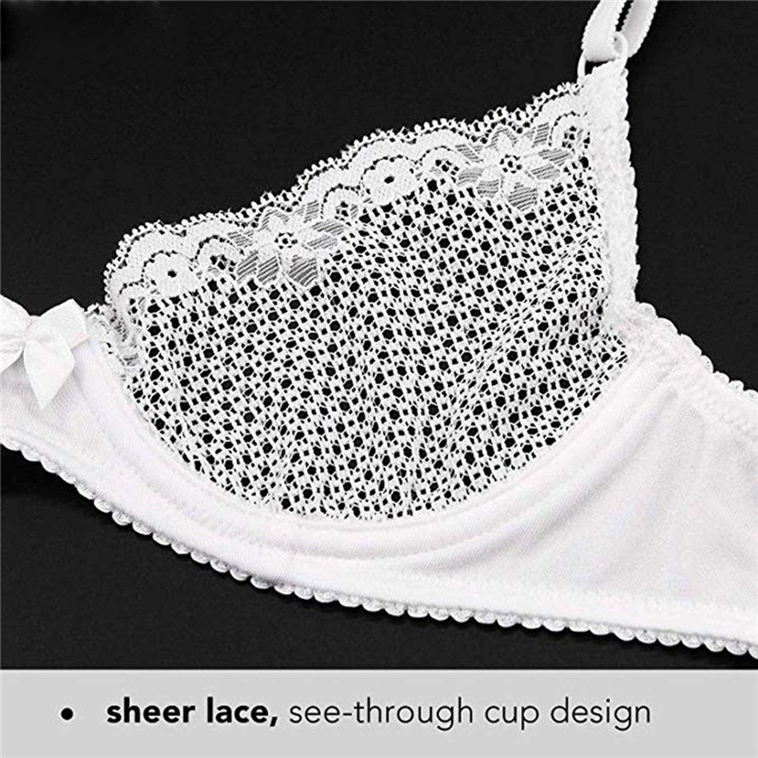 Womens Lace Bra Mesh Delicate Underwire Unlined Bra 1//2 Cup Breathable Bra,A,34 White