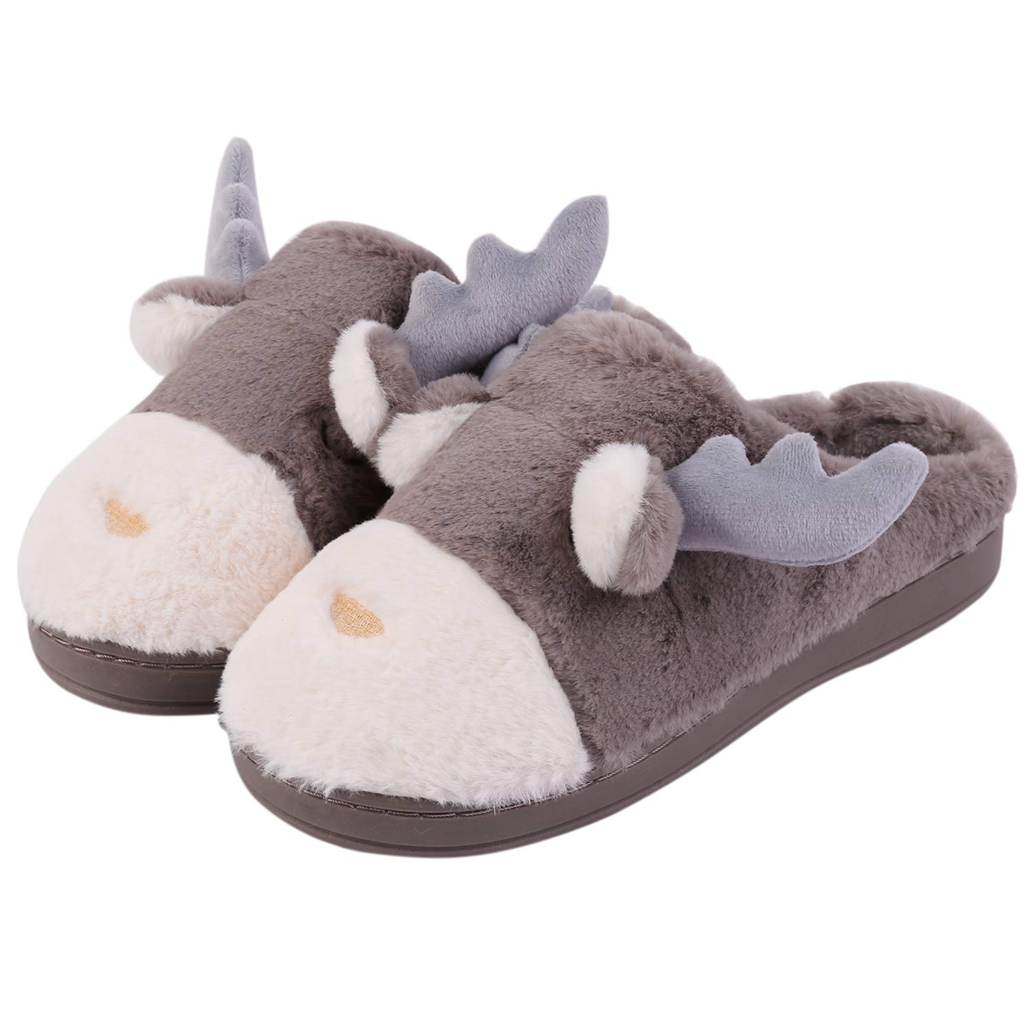 Hawiton Men/Women House Slipper Deer Fuzzy Plush Linning House Shoes Slip On Xmas Slippers by Hawiton