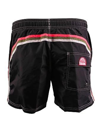 81e37c772b Sundek Men's Classic 14 Inch Elastic Waist Swim Short, Black/Pink Army, ...
