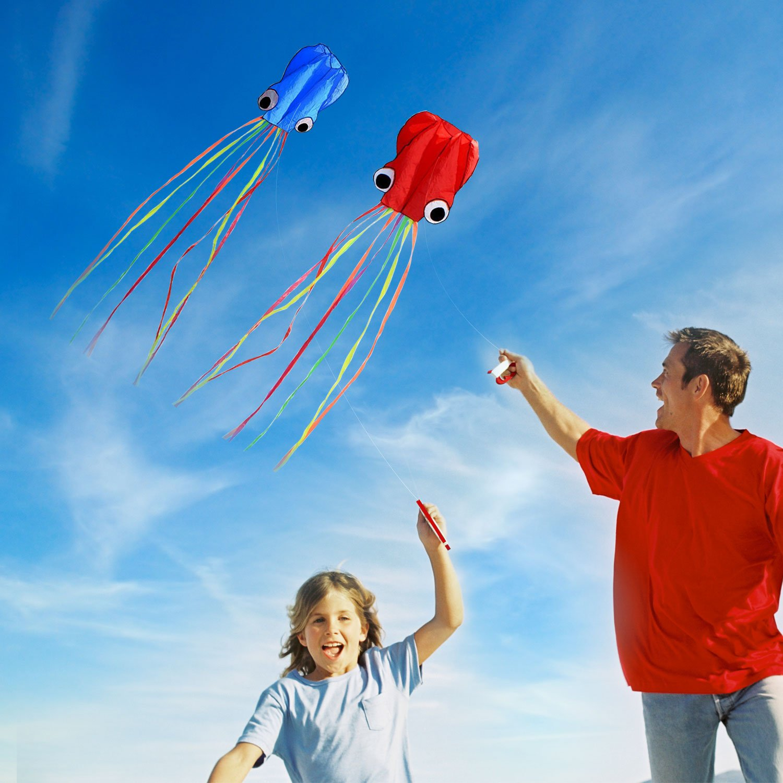 SINGARE Large Octopus Kite Long Tail Beautiful Easy Flyer Kites Beach Kites Good Toys Kids Adults