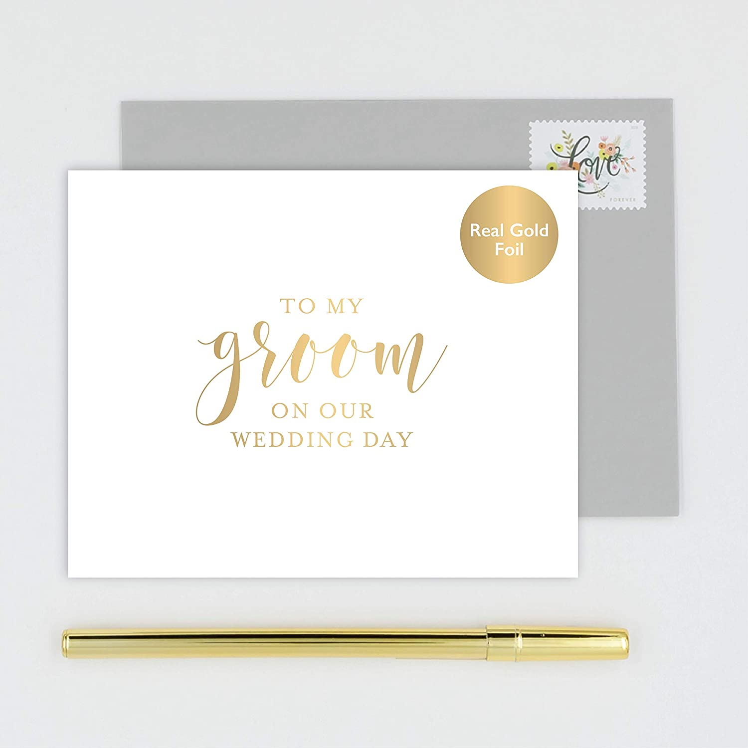 Amazon com to my groom on our wedding day card for husband handmade white card stamped with gold foil calligraphy design with gray envelope handmade