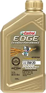 Castrol 152D7D Edge Extended Performance 0W-20 Advanced Full Synthetic Motor Oil, 1 Quart, 6 Pack