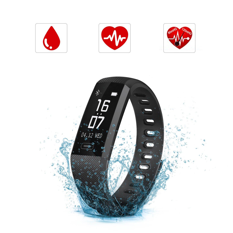SAVFY Smartwatch Orologio Intelligente, IP67 Impermeabile Fitness Tracker, Bluetooth 4.0 Bracciale Fitness con Pressione Arteriosa/Ossimetro e Cardiofrequenzimetro Per iPhone ios/Android (Nero) BTD0164BK