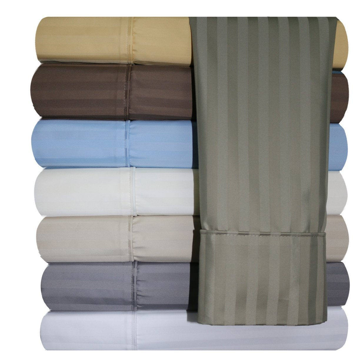 Royal Hotel 620-Thread-Count Sheet Set, Wrinkle-Free Cotton-Blend Sheets, Sateen Striped, Deep Pocket, Queen size, Beige