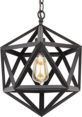 Kira Home Trenton 16 Modern Industrial Wrought Iron Metal Geometric Pendant Chandelier, Adjustable Chain, Black Finish