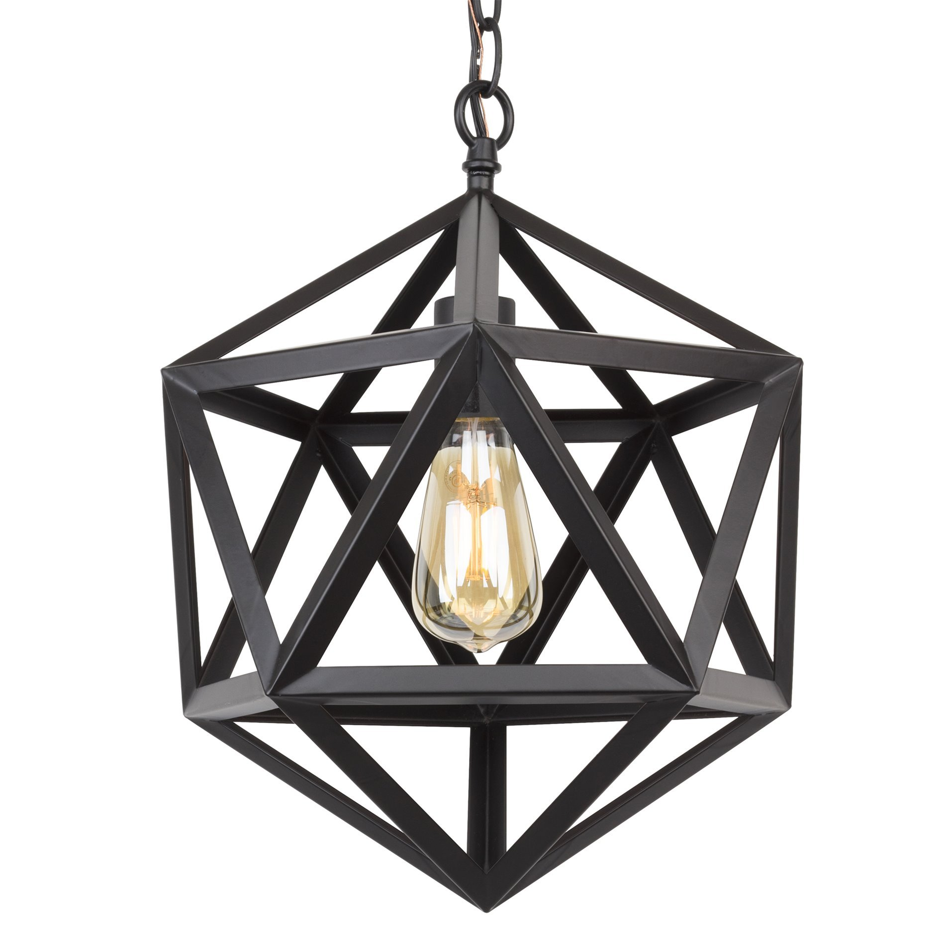 Kira Home Trenton 16'' Industrial Wrought Iron Metal Chandelier, Adjustable Chain, Black Finish