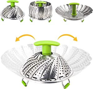Vegetable Steamer Basket Stainless Steel Food Steamer Veggie Steamer Insert with Extendable Handle, Cooking Steamer Expandable to Fit Various Size Pot ((7