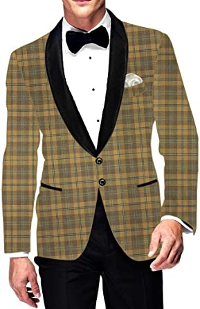 INMONARCH Mens Slim fit Casual Tan Checks Blazer Sport Jacket Coat for Wedding SB15613