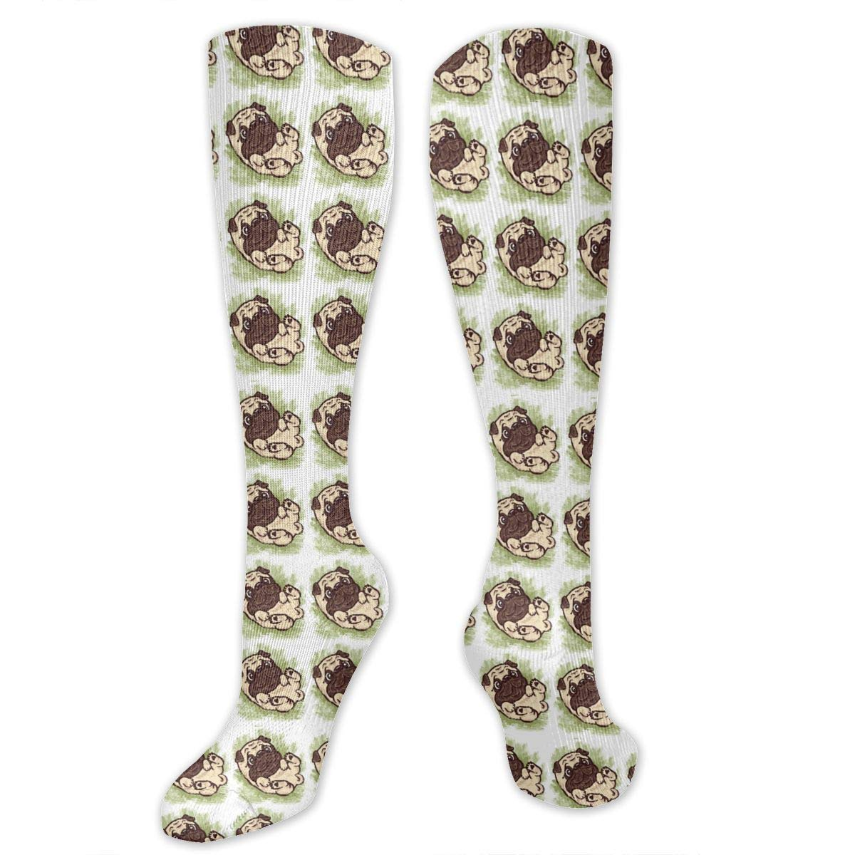 Amazon.com  Cute Pug Pattern Women s Flat Knit Knee Socks Patterned Long  Socks  Clothing 57cfb83672