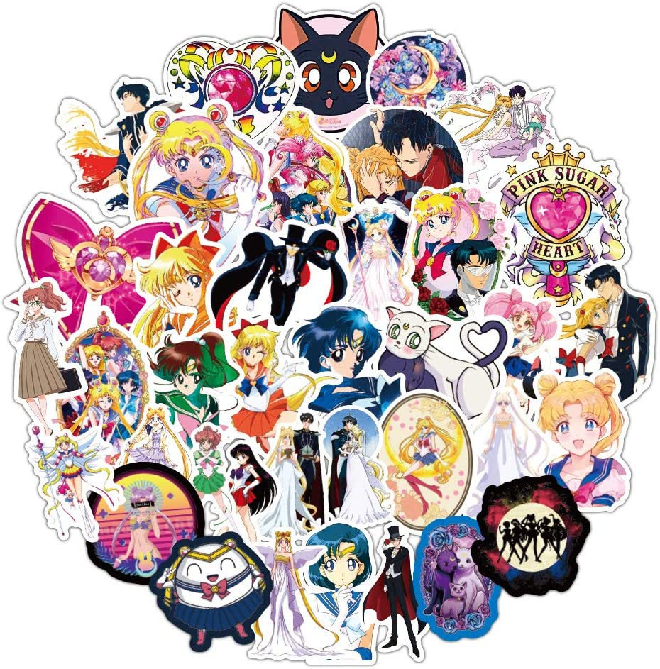Sailor Moon Stickers, Cartoon Network Stickers 100pcs Waterproof Cute Vinyl Girl Anime Decal Suitable for Laptops Water Bottle Book Skateboard Guitar