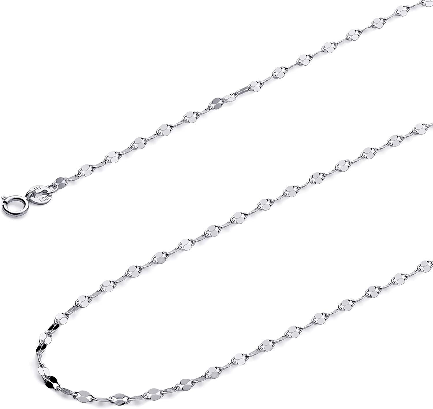 TGDJ 14k Yellow OR White Gold Solid 2mm Twisted Mirror Chain Necklace with Spring Ring Clasp