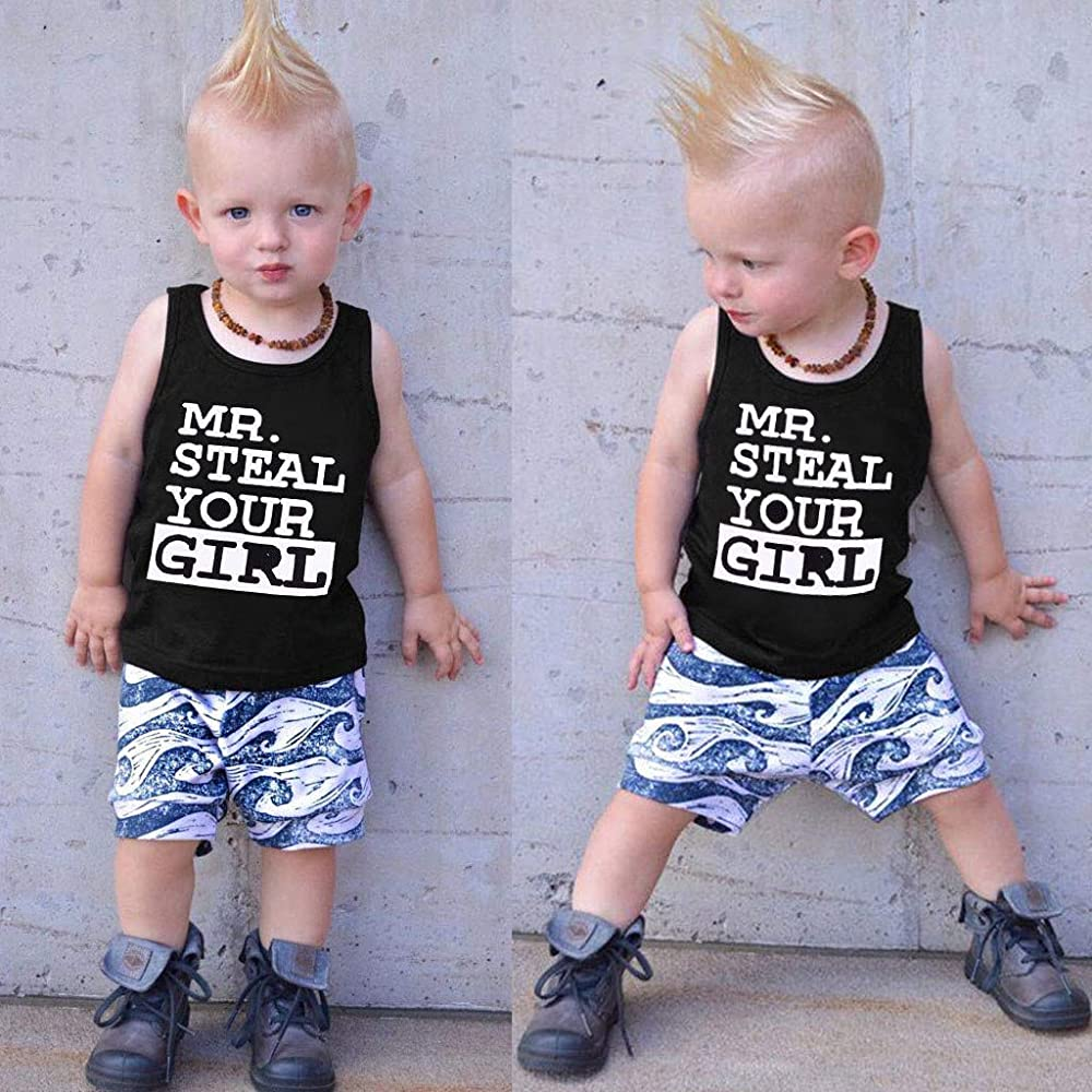 Toddler Boy Sports Clothes Set,Suma-ma Baby Boys Sleeveless Letter Printed T-shirt Tops Wave Shorts Outfits