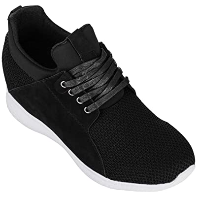 CALTO Men's Invisible Height Increasing Elevator Trainer Shoes - Black Mesh Lace-up Lightweight Fashion Sneakers - 3.2 Inches Taller - H71922 | Fashion Sneakers