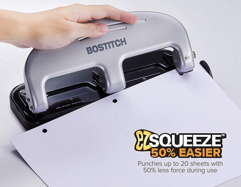 Bostitch inPRESS 20 Reduced Effort Three-Hole Punch Black 2220 Silver - .Silver