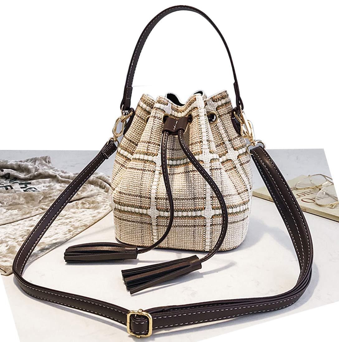 Basilion Fringed Woolen Cloth Bucket Bag Ladies Casual Handbag Shoulder Messenger Bag