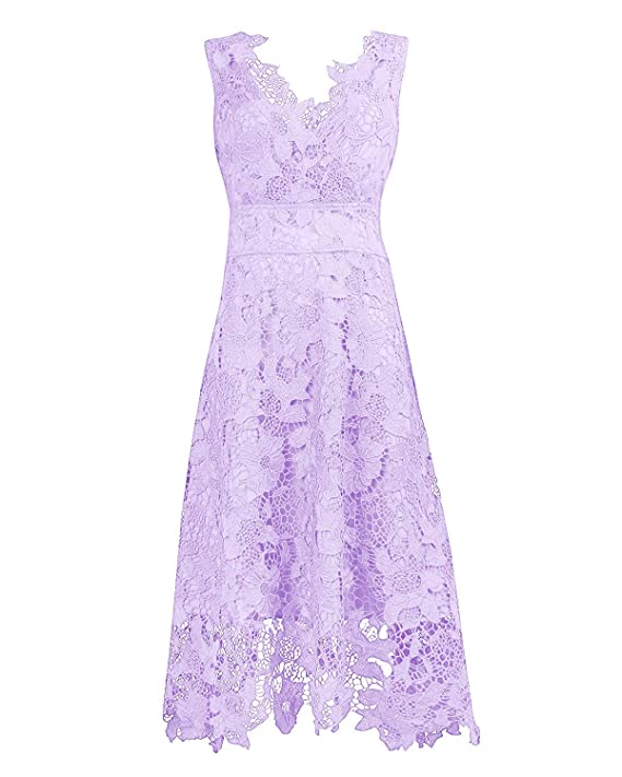 Kimilily Women's V Neck Elegant Floral Lace Swing Bridesmaid Dress by Kimilily