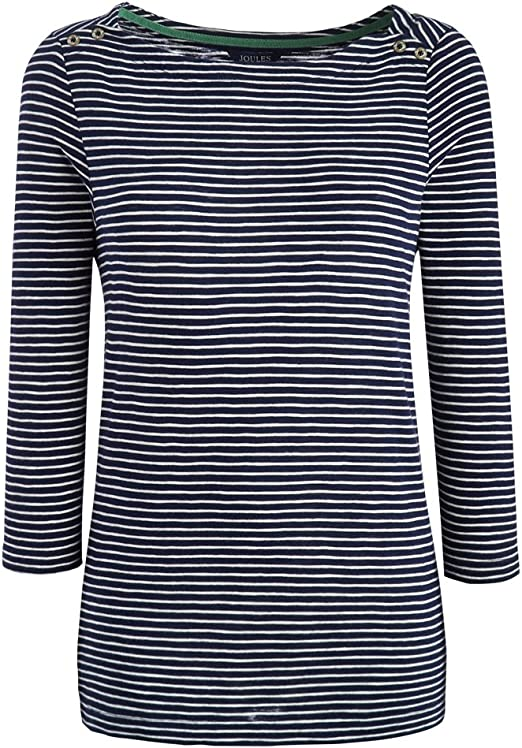 French Navy Stripe All Sizes Joules Harbour Embroidered Womens T-shirt Top