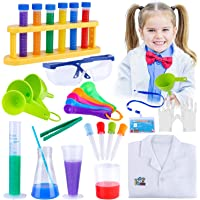 GiftInTheBox Kids Science Experiments Kit with Lab Coat for Scientist Costume Dress Up Role Play Toys Including 31 Pcs…