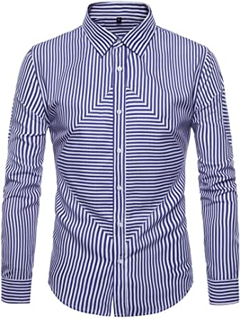 qulvyushangmaobu Camisa de vestir de rayas verticales de ...