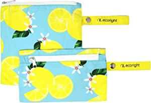 EcoRight Eco Friendly Snack & Sandwich Bags Made of Food Safe & BPA Free Recycled PET bottles | Two Layer Reusable Pouches with Zipper for Adults & Kids Lunch Bag | Life Gives Us Lemons - Set of 2