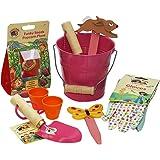 Little Pals Children's Gardening Kit - Bucket of Fun, Pink, withKids Garden Tools, Gloves and Popcorn Seeds