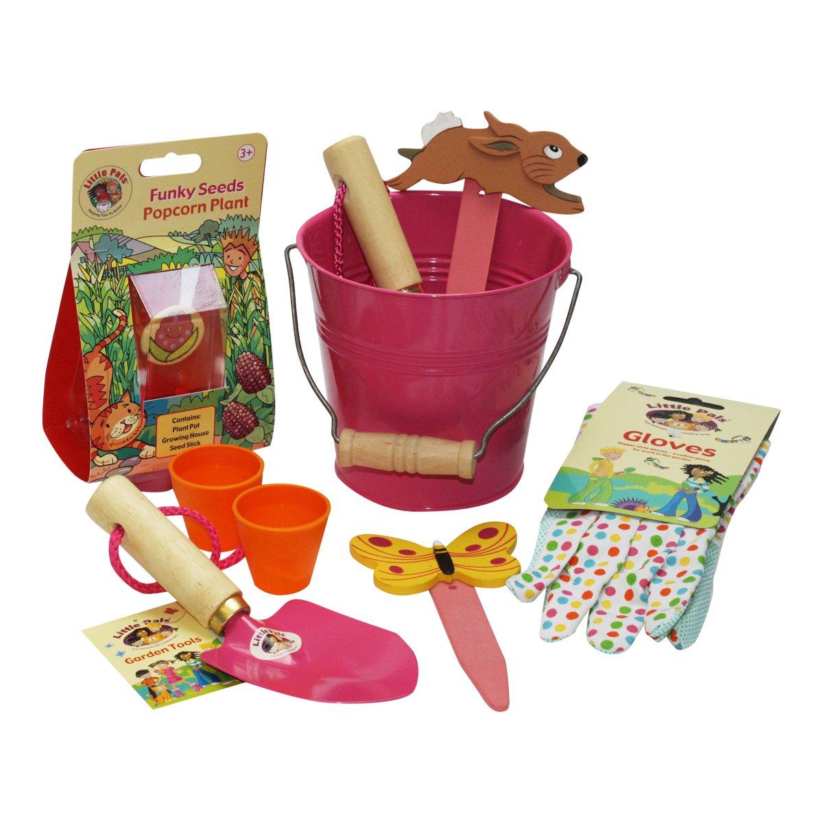 Little Pals Children's Gardening Kit - Bucket Fun, Pink, withKids Garden Tools, Gloves Popcorn Seeds LP173