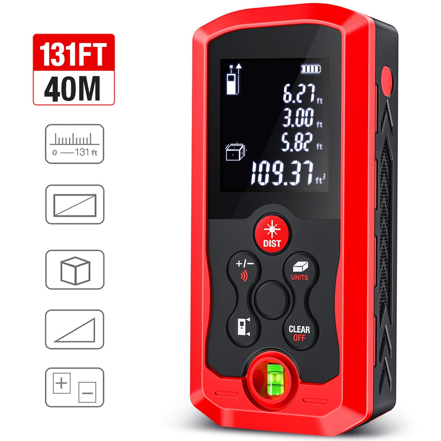 Laser Measure, ESYWEN 131ft Laser Tape Measure Mute Laser Measuring Tape with Bubble Level, LCD Backlight, Measure Distance/Area/Volume/Pythagorean Mode
